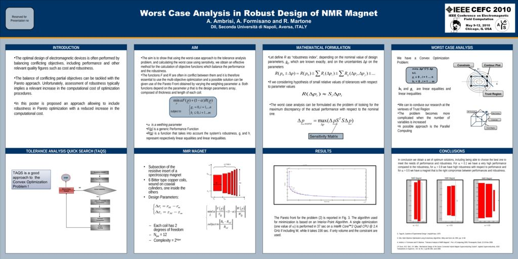Worst Case Analysis in Robust Design of NMR Magnets [2010]